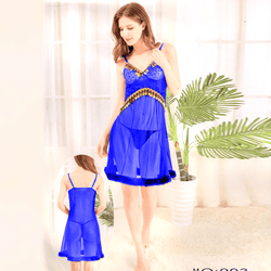 Blue Stylish Nighty with Golden Less - 993