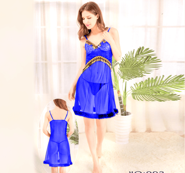 Blue Stylish Nighty with Golden Less - 993 - Hiffey