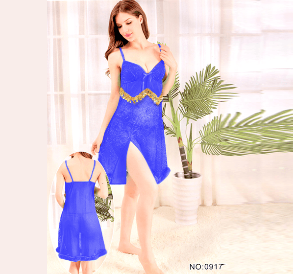 Blue Stylish Nighty with Golden Less - 917
