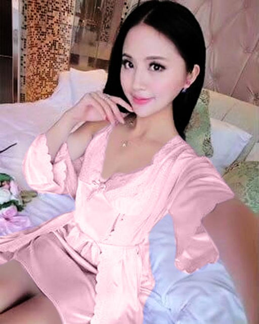 2 Piece Night Gown - Pink - Hiffey