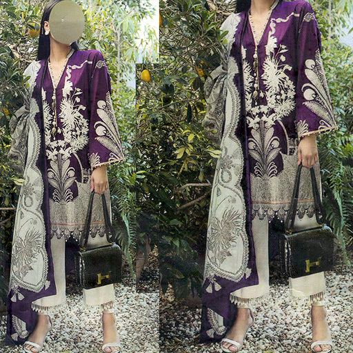 3 Piece Embroidery Unstitched Suit - Purple