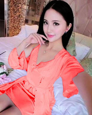 2 Piece Night Gown - Peach
