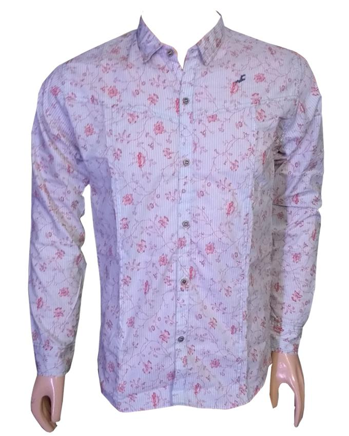 Printed Pink Long Sleeves Casual Shirt