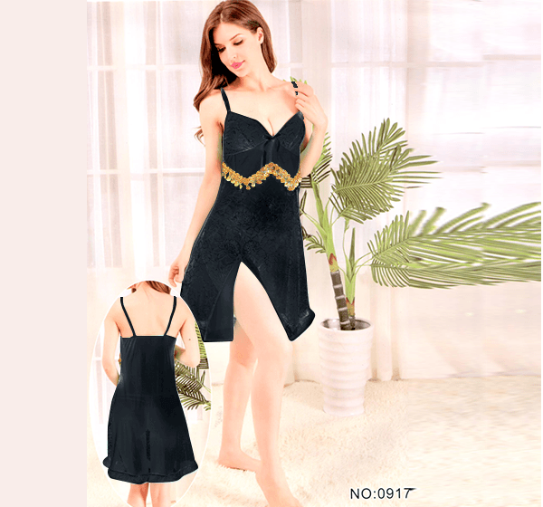 Black Stylish Nighty with Golden Less - 917