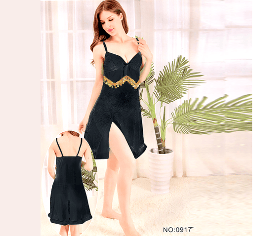 Black Stylish Nighty with Golden Less - 917 - Hiffey