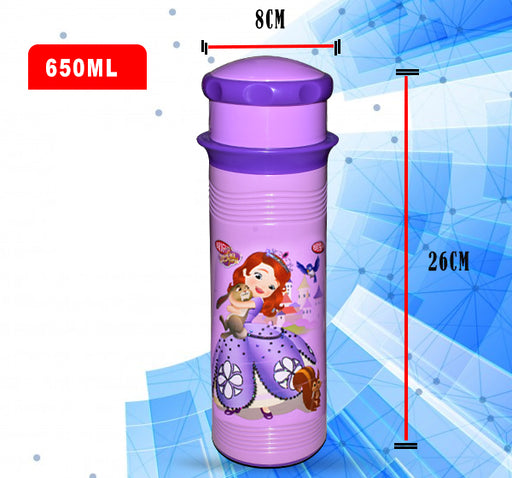 Barbie Princess Sofia Water Bottle For Kids - Purple - 650 ml - Hiffey