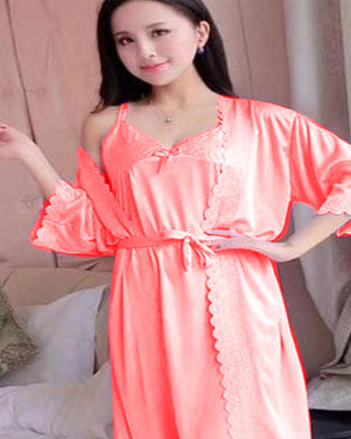 2 Piece Night Gown - Peach - Hiffey