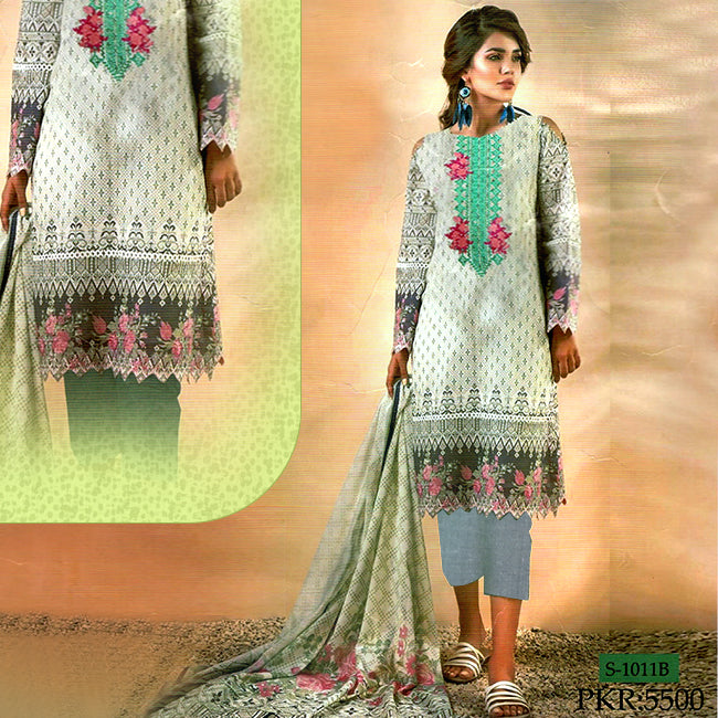 3 Piece Embroidery Unstitched Suit - Multicolor