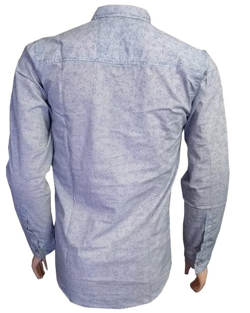 Grey Printed Long Sleeves Casual Shirt - Hiffey
