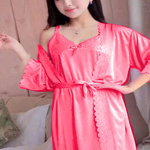 2 Piece Night Gown - Rose Pink