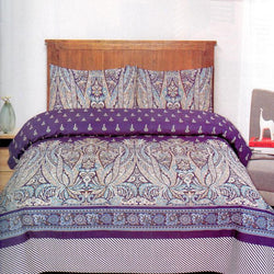 Royal Blue Cotton Concept Printed 3 Piece King Double Bed Sheet Set