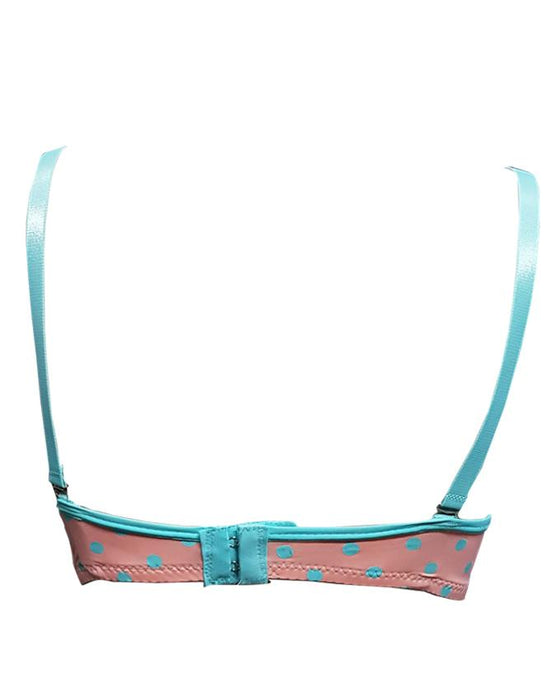 Padded Wired Fancy Bra Sea green Laces - Peach - Hiffey