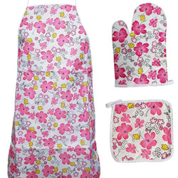 Flowers Printed kitchen 3 Piece Suit Apron, Oven Mitt and Pot Holder