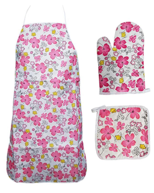 Flowers Printed kitchen 3 Piece Suit Apron, Oven Mitt and Pot Holder - Hiffey