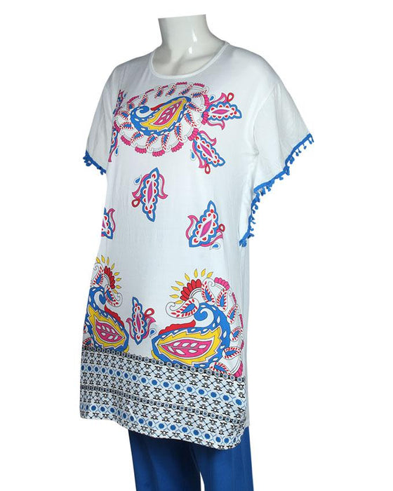 Ethnic Pattern Design T-Shirt with Blue Pajama - Hiffey