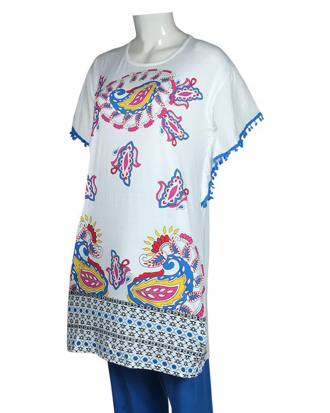 Ethnic Pattern Design T-Shirt with Blue Pajama