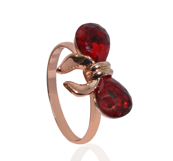 Two Red Alloy Bow Style Ring For Girls - Golden - Hiffey