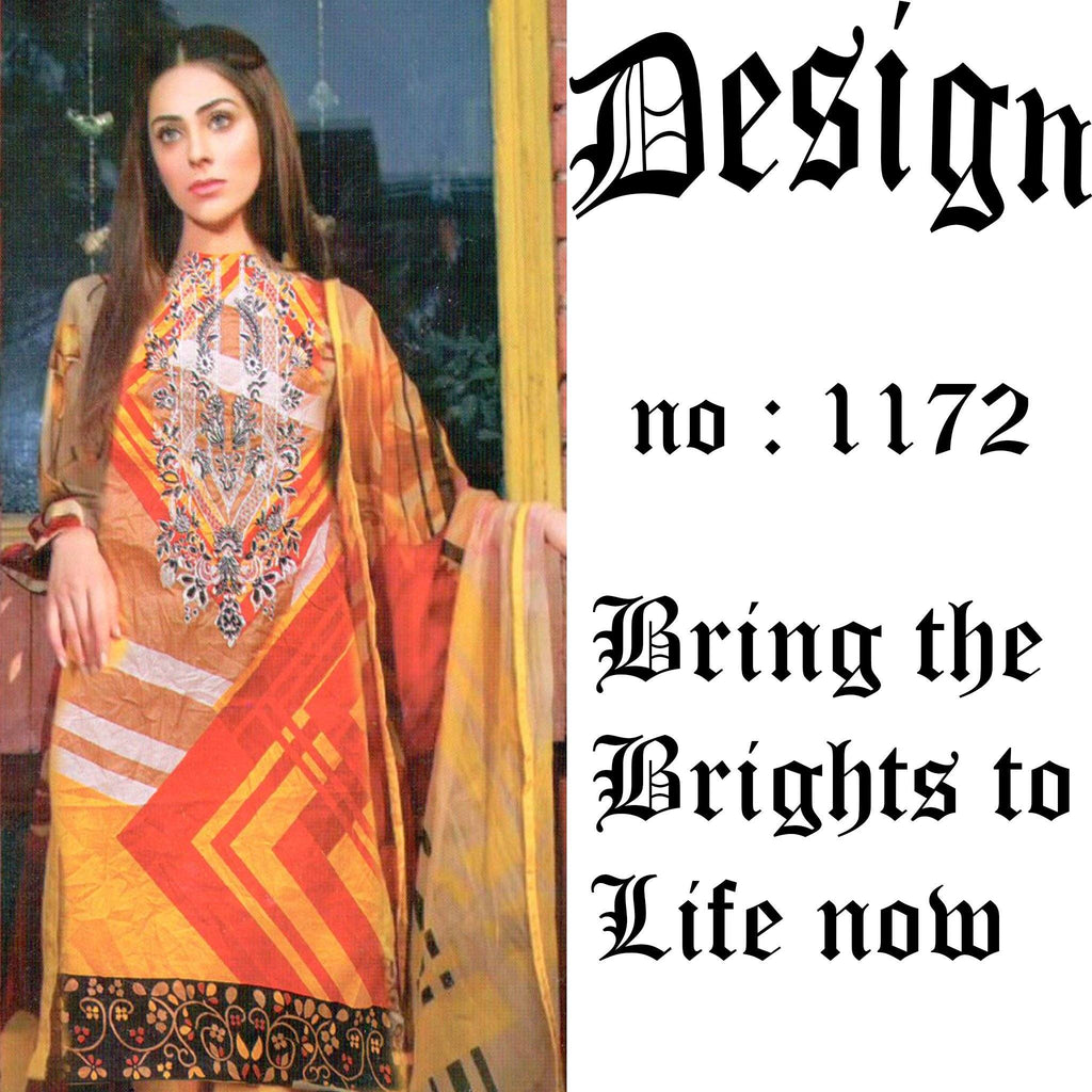 Unstitched 3PC Printed  Embroidered Lawn Suit  Design 1172 - Hiffey