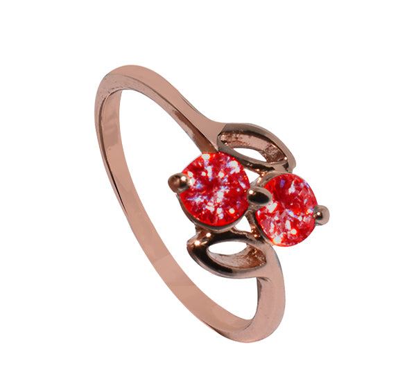 Red Tiny Twin Alloy Ring For Girls - Golden - Hiffey