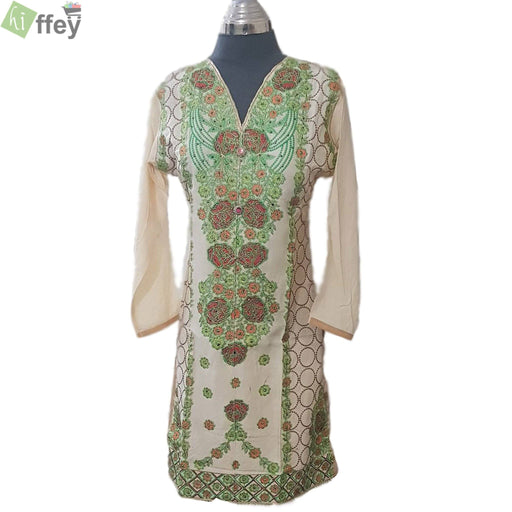 Off White Color Full Green Embroidered Kurti for Women - Hiffey