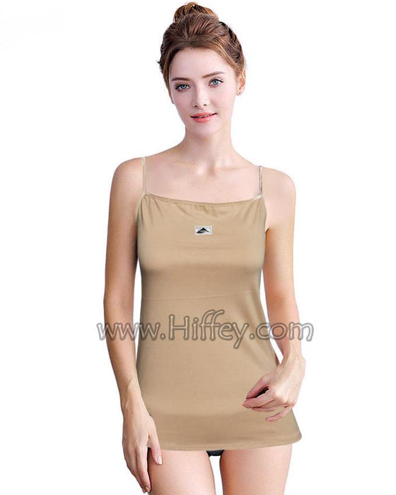 Skin Color Stylish Tank Top with Golden Less - for Girls - Hiffey