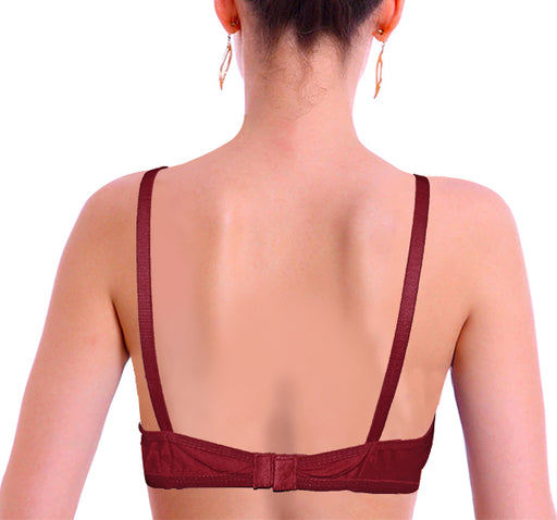 Smooth Stretchable Stripe Cotton Lace Non Padded Bra - Maroon