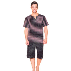 Men Night Black Stripped T-Shirt & Black Shorts