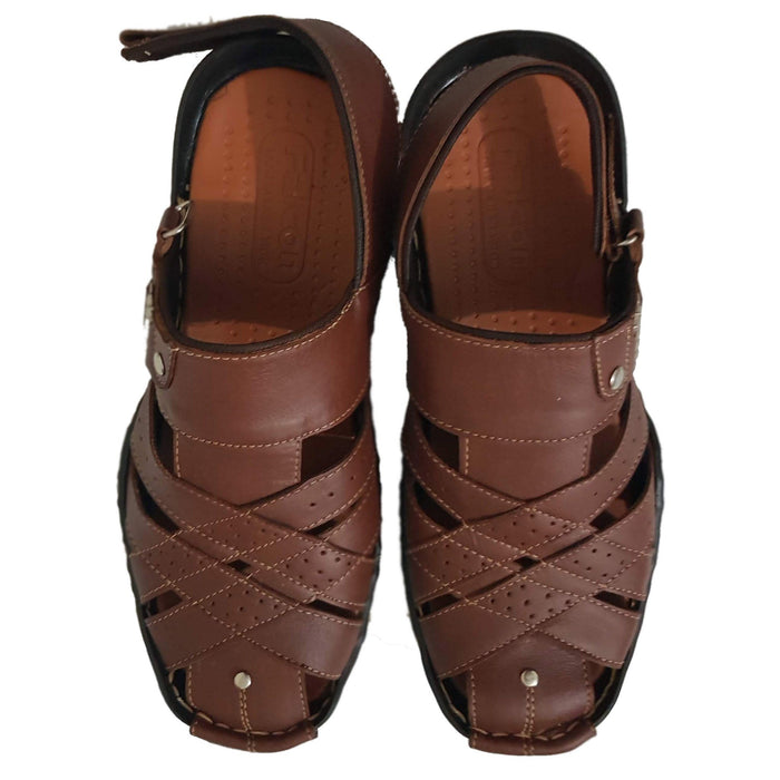 Casual Men's Leather Sandal- Brown - Hiffey