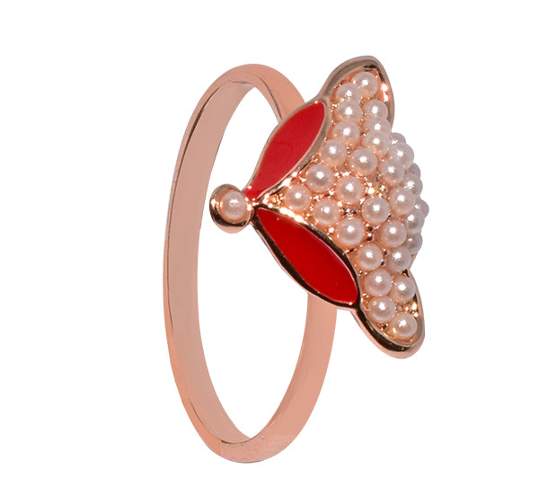 Red Lotus Flower Tiny Pearls Ring For Girls - Golden - Hiffey