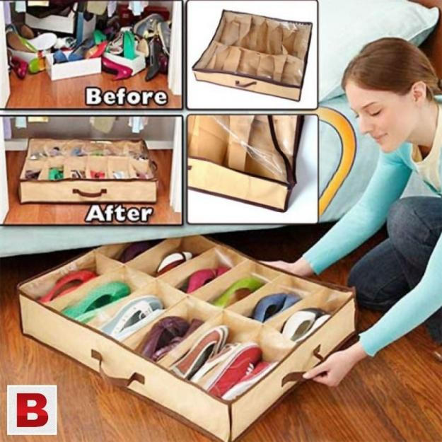 12 Shoes Under Bed Storage Rack Storage Organizer - Hiffey