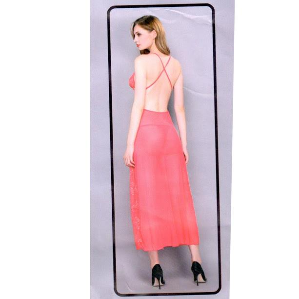 Full Net with Back Open Nighty For Women - Pink - Hiffey