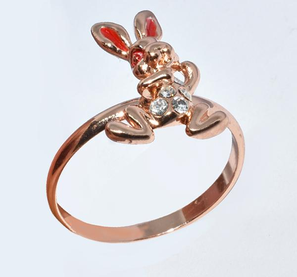 Red Rabbit Alloy Ring For Girls - Golden - Hiffey