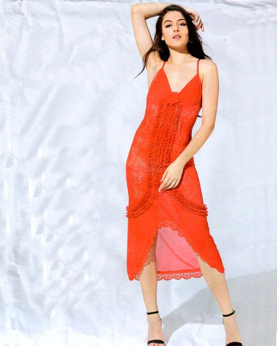 Stylish Red Strips Long Gown Style Nighty -1960 - Hiffey