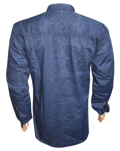 Blue Printed Long Sleeves Casual Shirt - Hiffey