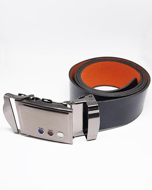 Stylish Geometrical Design Buckle Leather Belts For Men - Black - Hiffey
