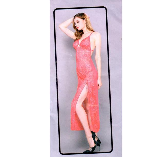 Full Net with Back Open Nighty For Women - Pink