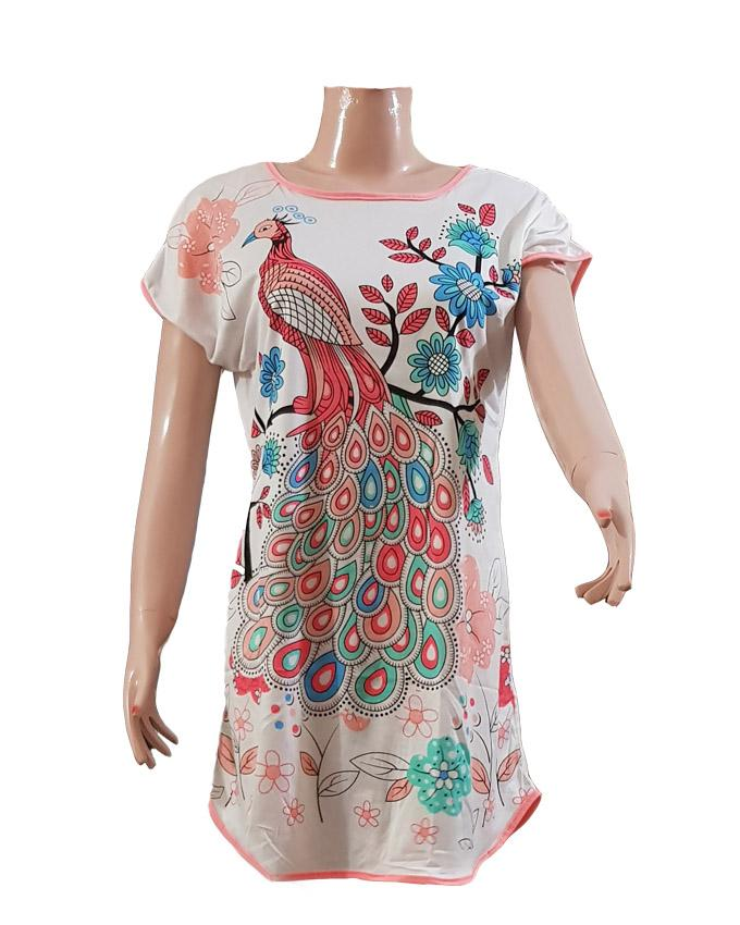 Ladies Casual Peacock Printed T-Shirt