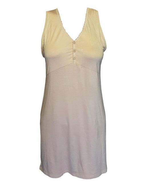 Womens Sleeveless V Neck Tunic Tank Top with Bottons - Skin Color - Hiffey