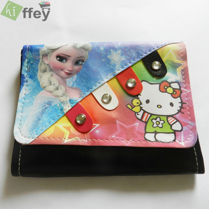 Frozen Plus Hello Kitty Clutch For Girls Black - Hiffey