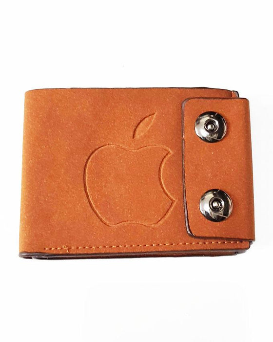 Double Clipper Center Embossed Apple Wallet for Men - Camel Brown - Hiffey