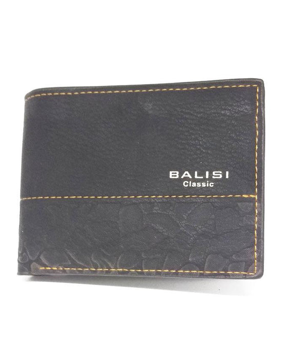 Balisi Half Texture Printed Artificial Leather Wallet - Black - Hiffey