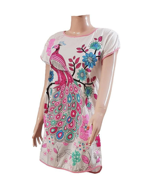 Ladies Casual Peacock Printed T-Shirt - Hiffey