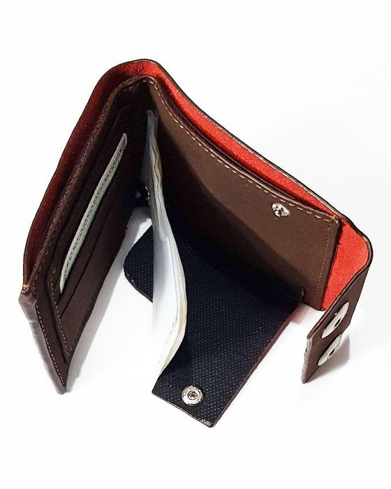 Double Clipper Center Embossed Apple Wallet for Men - Dark Brown - Hiffey