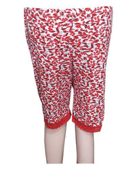 Printed Red Printed Short Pyjama for Ladies