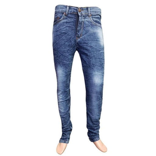 Branded Wrinkled Denim Jeans for Men - Hiffey