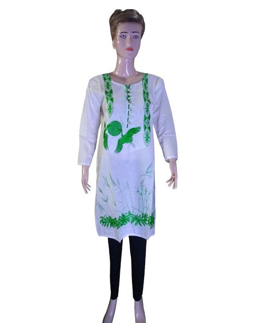 Independence Day White Kurti with Green Bird Embroidered - Hiffey
