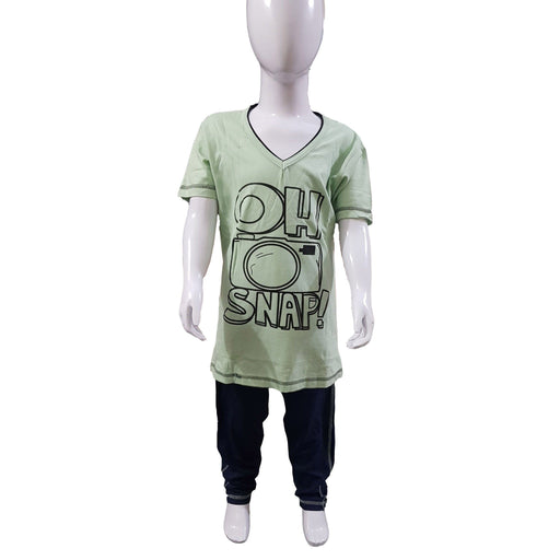 Green & Blue T-Shirt & Trouser for Kids - Hiffey