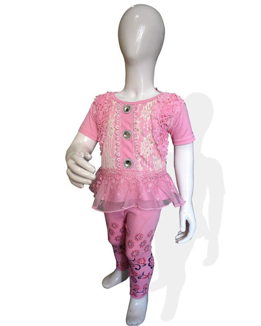 Fancy Embroidered Frock Pink Color For Baby Girl - Hiffey