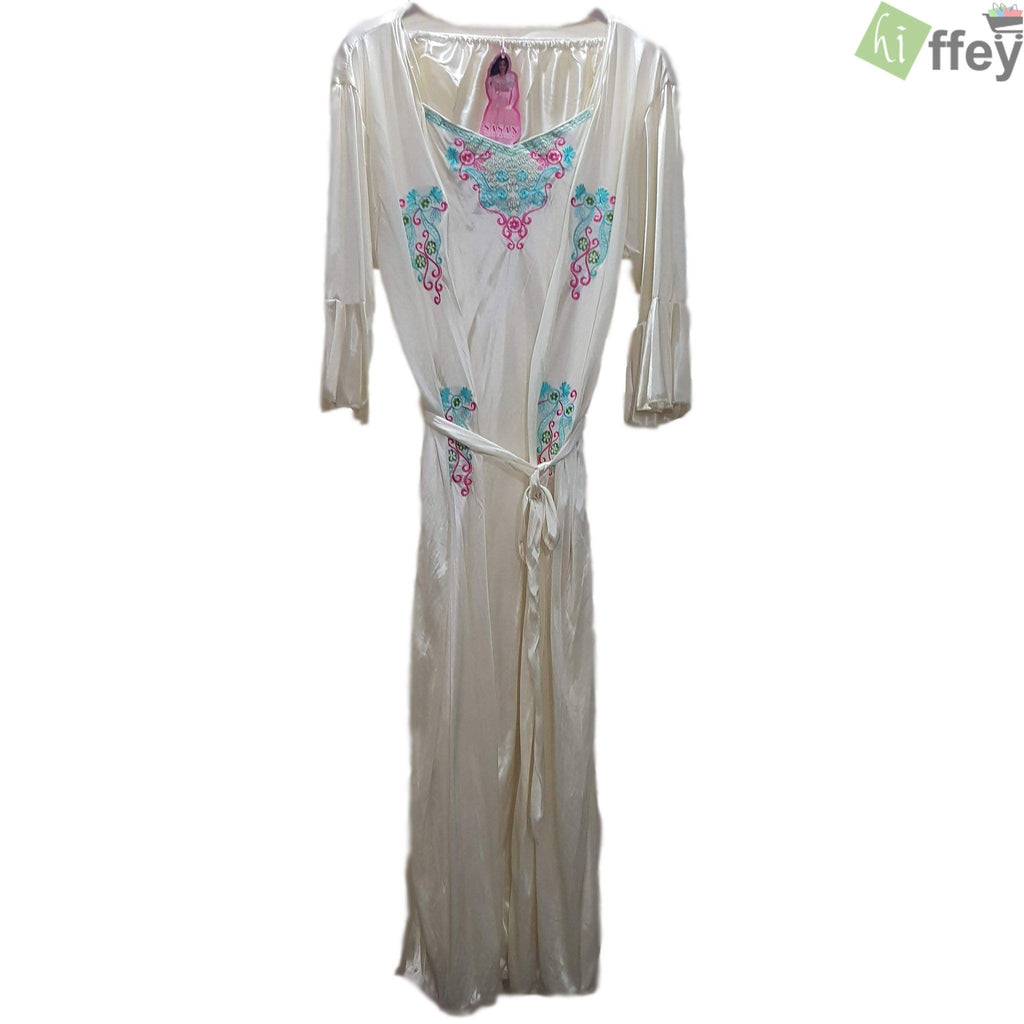 White Silk Nightgown White colorful Embroider for Women - 3 Piece