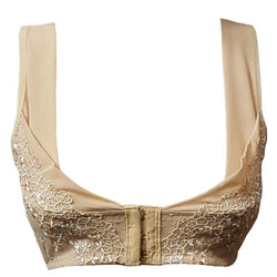 Skin Color Front Open Embroidered Bra - Non Padded